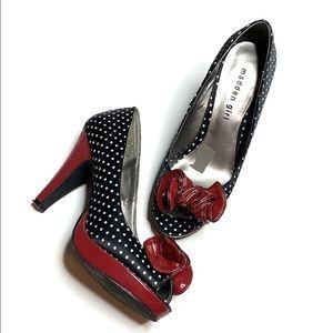 Madden Girl Karla Black & White Polka Dot Heels